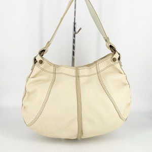 Lucky Brand Off-White Cream Pebbled Leather Hobo